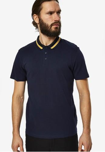 Selected Homme navy Karter Waffle Short Sleeve Polo Shirt 77B47AAC4BE8FCGS_1
