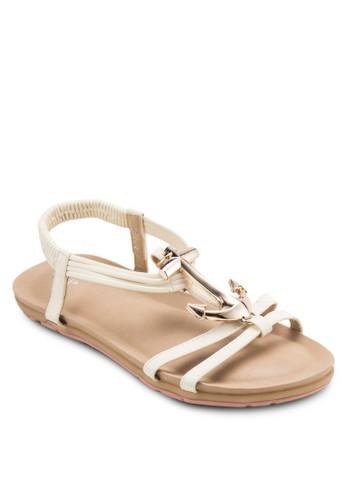 金錨彈性繞踝涼鞋, 女zalora 衣服尺寸鞋, 鞋