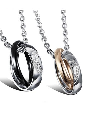 Trendyshop black and gold Sweet Heart Couples Pendant Necklace Set TR116AC2V0H1HK_1