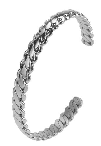 CUFF IT silver Woven Pattern Stainless Steel Bangle B7B90AC26304F0GS_1