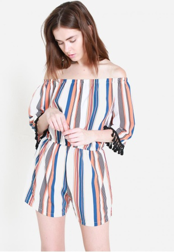 Sophialuv orange and multi Keeping It Real Striped Off Shoulder Romper in Dusk 73D56AA632ED92GS_1