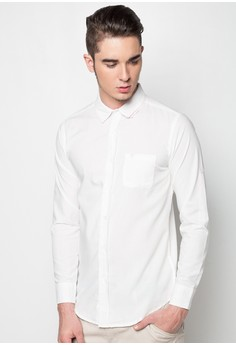 Long Sleeves Solid Button-Down Collar with Fabric Combi