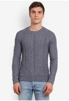 【ZALORA】 Mixed Yarn Cable Knit Jumper