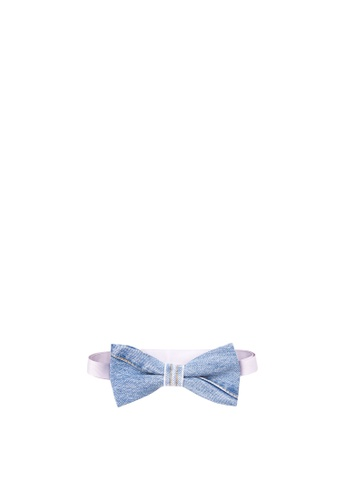 BARBA blue Denim with Diagonal Stitch Bow Tie BA953AC33WKSPH_1