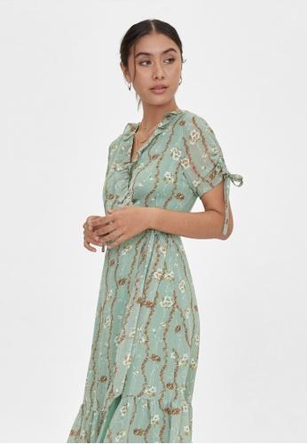 Pomelo green Midi Floral Surplice Dress - Green 4CECDAA5B03654GS_1