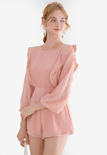 Eyescream pink Ruffle Playsuit 647CCAAB6A4951GS_1
