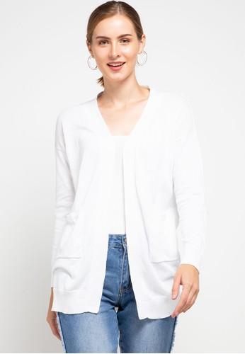 Peponi white Pocket Long Cardigan D9AB6AA89CF05DGS_1