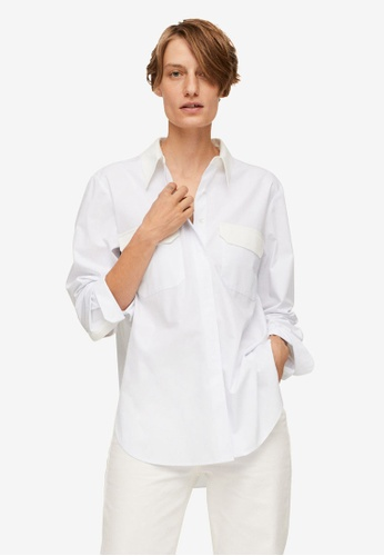 Mango white Chest-Pocket Cotton Shirt 17F4DAAF246A0DGS_1