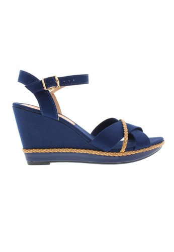 Beira Rio navy and brown Cross Strap Wedge Sandal BE995SH64ZUTHK_1