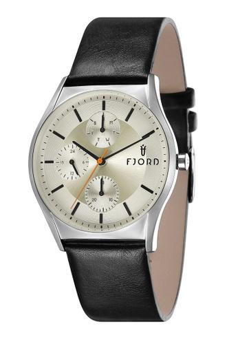 Fjord black Fjord Men's Genuine Leather Watch - FJ-3030-01 0ECBAAC732E86FGS_1