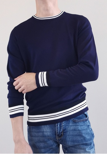 SUB navy Men Sweater With Contrast Trims 78E19AA259E30EGS_1