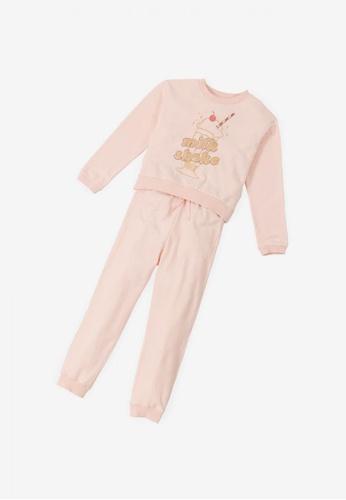 Gingersnaps pink Girls Milkshake Long Sleeves Lounge Pants Set 9AD62KA198C167GS_1