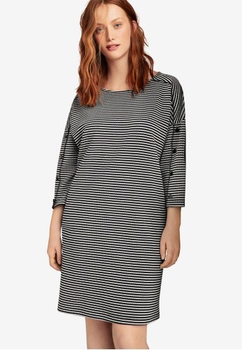 Violeta by MANGO black Plus Size Stripe Textured Dress 329D2AADFB9F53GS_1