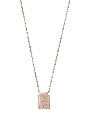CLUSE gold Force Tropicale Rose Gold Twisted Chain Tag Pendant Necklace A0C67AC641E171GS_1