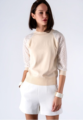 miss Viola beige HOLLOW-OUT EMBROIDERED SLEEVE SWEATER B4A91AAFAC3502GS_1