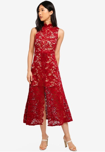 Megane red Red Romance Jozlyn Lace Midi With Mandarin Collar 46EEAAA6C0798AGS_1