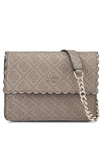 Guess grey and brown Rayna Mini Crossbody Flap Bag DDBF3ACDF22414GS_1