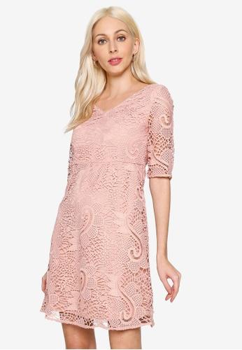 Hopeshow pink V-Neck A-Line Lace Dress 244ADAAF7DC8B3GS_1