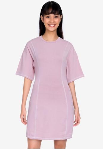 ZALORA BASICS pink Contrast Jersey Sheath Dress 7E485AA9F89571GS_1