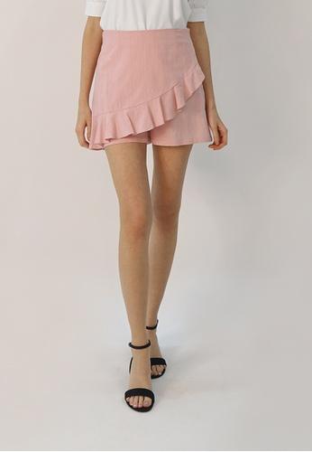 Cheetah pink C.Union Cotton Ruffled Skort - CUL-4126 D5C69AA03DBCE4GS_1