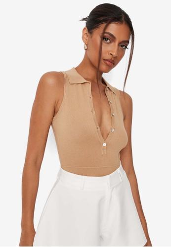 MISSGUIDED brown Tennis Bodysuit 7C2FBAAE0F990BGS_1