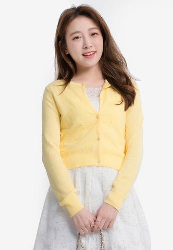 Yoco yellow Heart Shape Patterned Cardigan 49640AA3BB6A79GS_1