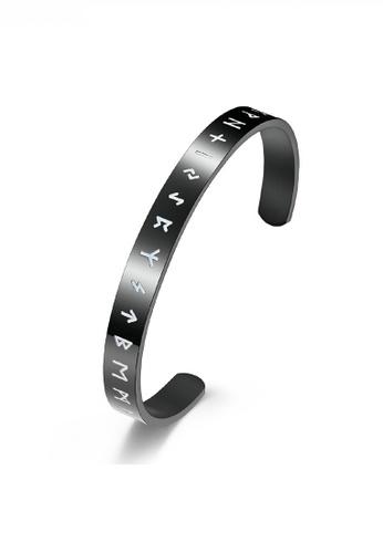 HAPPY FRIDAYS black Titanium Steel Lettering Open Bracelet JW QF-SL044 40A1BAC437816AGS_1