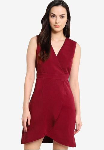 ZALORA WORK red Sleeveless Wrap Mini Dress E33BCAA279BFAAGS_1