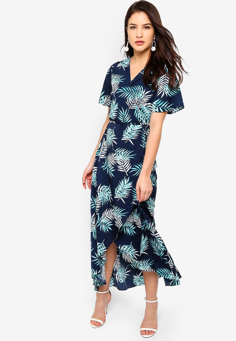 Navy Dress Hem Wrap Tropical ZALORA Asymmetrical RxHqIAwfS