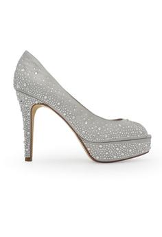 99957d646b09 Gripz silver Beva Peep Toe Crystal Studded Wedding Heels GR357SH0FTQVSG 1