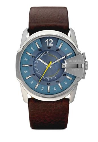 Diesel silver Diesel Master Chief Dark Brown Leather Watch DZ1399 DI095AC69AXEMY_1