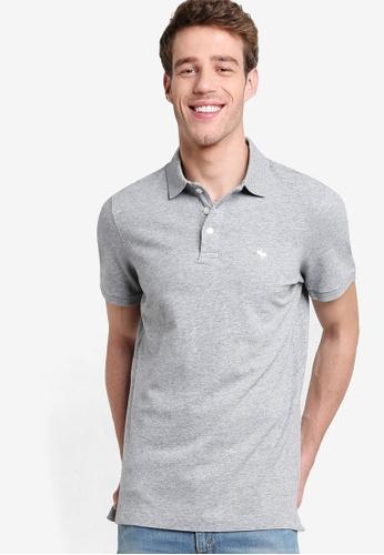 Abercrombie & Fitch grey Stretch Polo Shirt AB423AA48GOLMY_1