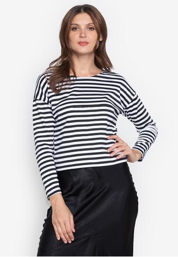 RUESALIDOU black Alyanna Stripes Long Sleeve Blouse 3D887AA29EE8A4GS_1