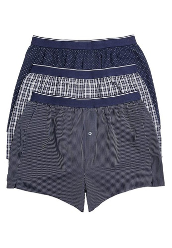 MARKS & SPENCER blue M&S 3 Pack Pure Cotton StayNew™ Woven Boxers 89CA7USB95D2D3GS_1