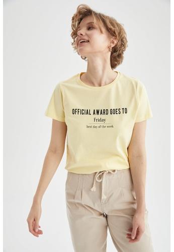 DeFacto yellow Short Sleeve Round Neck Printed T-Shirt 4FF15AAEAA0DEBGS_1
