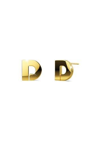 Bullion Gold gold BULLION GOLD Bold Initial Alphabet Letter Earrings Gold Layered Steel Jewellery- D 70061ACFDE7CCFGS_1