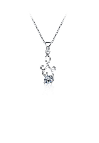 Glamorousky white 925 Sterling Silver Fashion Simple Geometric Cubic Zircon Pendant with Necklace F7BF5AC58E92ACGS_1