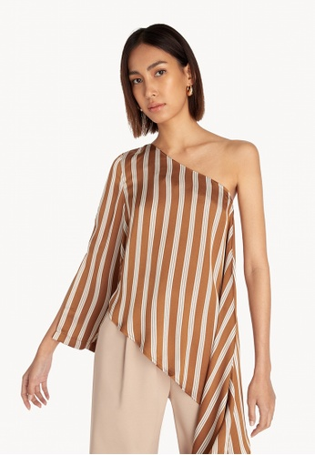 Pomelo brown One Shoulder Draped Top - Brown 9625DAA17638FEGS_1