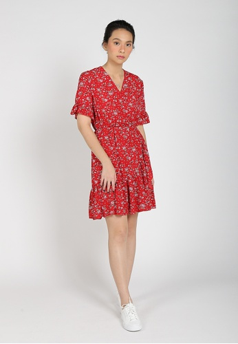 HERAPOSH red Dasom Floral Wrap Dress C65B7AAD85DBDFGS_1