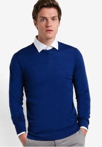 MANGO Man blue Rounded Neck Wool Sweater MA449AA30AYBMY_1
