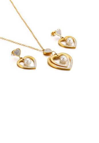 Glamorousky 白色 時尚簡約鍍金色心形仿珍珠鋯石316L鋼項鏈和耳環套裝 EB9F6ACB325B5CGS_1
