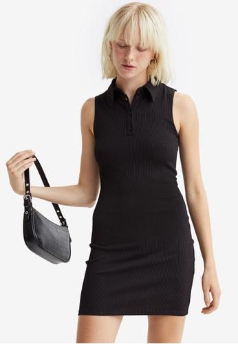 H&M black Ribbed Dress 5A7E1AA77AD0D3GS_1