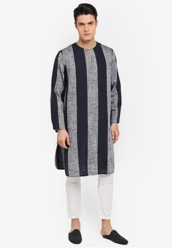 Rizalman for Zalora black and grey Shah Top Kurta Stripes RI909AA0SF0AMY_1
