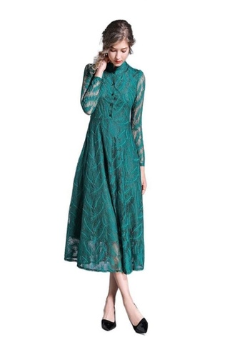 Crystal Korea Fashion green New Long-sleeved Temperament Waist Over The Knee Lace Dress A86C0AA472A549GS_1