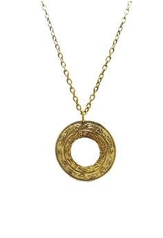 Round Disk Open Center Charm Antique Vintage Pendant Necklace