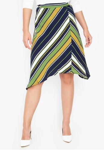 Wear Kris multi Kosher Stripe Skirt With Asymmetric Hem 17CECAA929A505GS_1