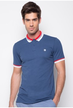 Polo Tee with Stripe Collar and Embro Detail