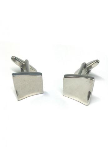 Splice Cufflinks silver Silver Wavy Square Cufflinks SP744AC58FRLSG_1