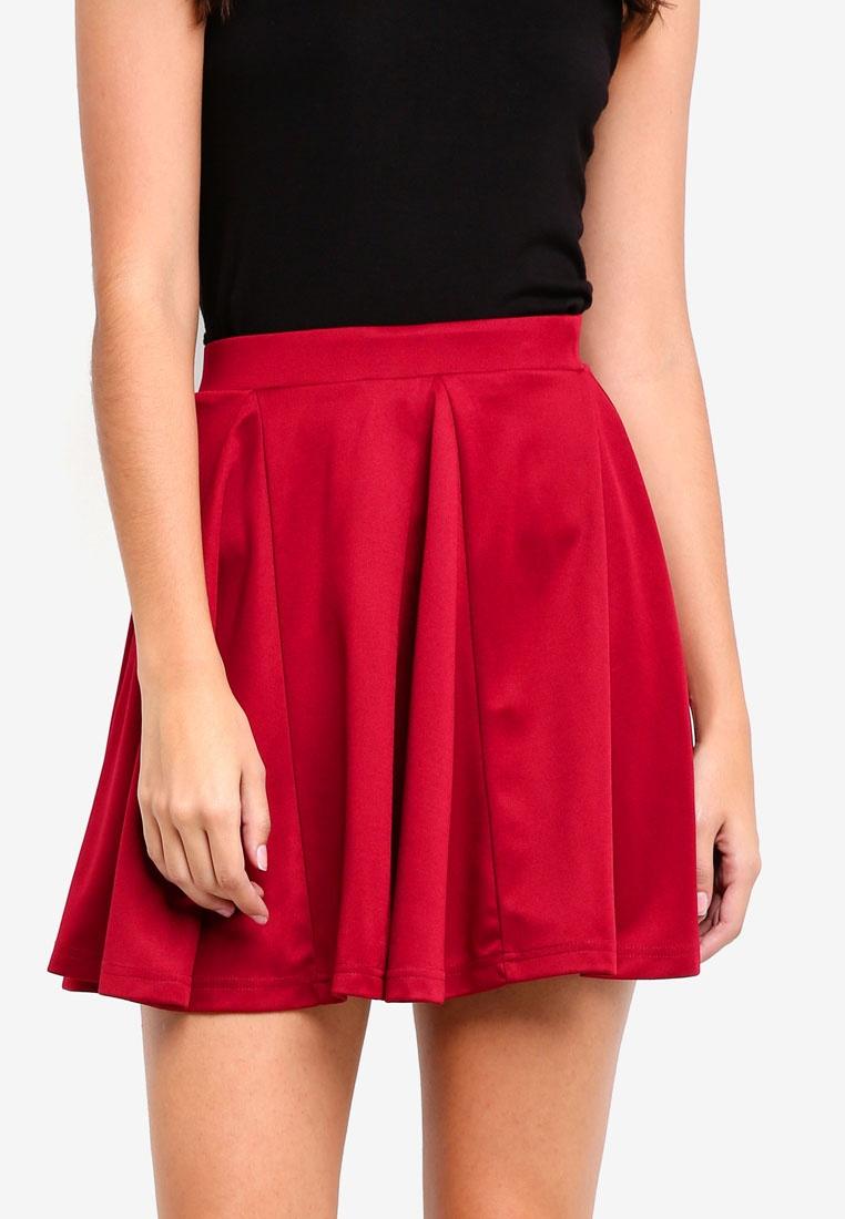 Something Panelled Maroon Borrowed Skater Skirt wr8Cwq