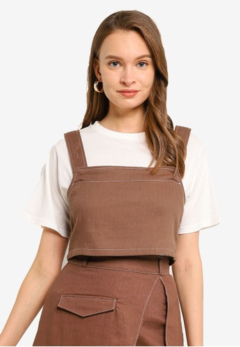 Heather brown Back Tie 2-In-1 T-Shirt 72632AA56CEF58GS_1